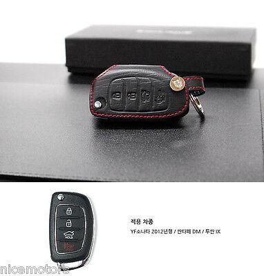 Red Stitch Folding key Leather Holder Case Genuine For Hyundai Tucson ix35 2011+