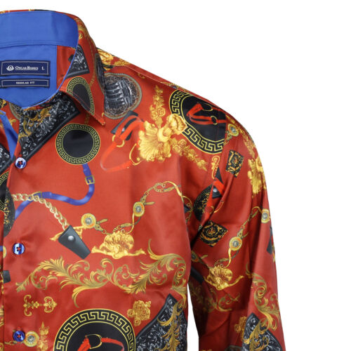 Oscar Bank Mens Orange Red Gold Satin Silk Feel Designer Print Smart Party Shirt