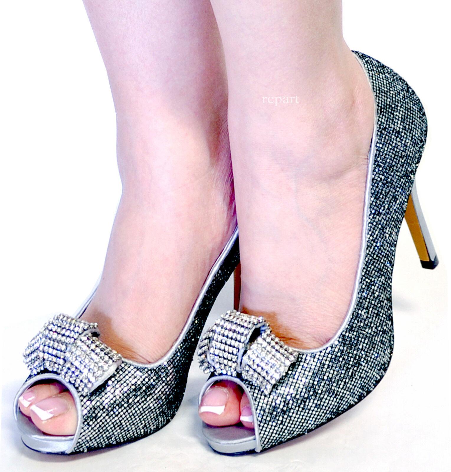 Nuevo De Para Mujer zapatos  Strass De Nuevo Aguja Peep Toe Fiesta Baile Boda Plata eu39 ab44bc