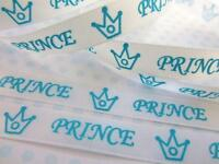 "10 yard White/Blue Crown 3/8"" Satin Ribbon/craft/baby boy shower/bow R119-Prince"