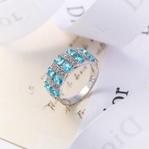 European Fashion Jewelry Gift Multi Bleu clair ciel Topaz silver ring Taille 6-10