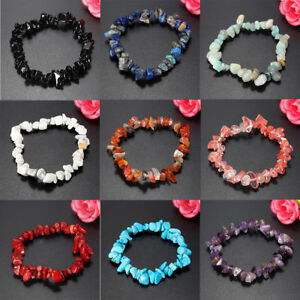New-Healing-Crystal-Nuggets-Chips-Gemstone-Jewelry-Pebbles-Bracelet-Wrist-Gift