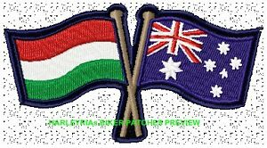 AUSTRALIA-HUNGARIAN-CROSSED-FLAGS-BIKER-PATCH-100-X-55MM