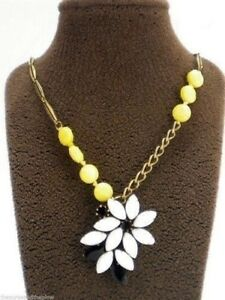Fossil-Mystic-Flower-Necklace-Pendant-Gold-Tone-Yellow-White-Set-Stones-New-NWT