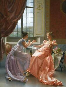 Art-Print-Court-Ladies-Oil-painting-Giclee-Printed-on-canvas-16X20-Inch-P057