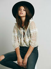 NWT Free People Counting The Days Victorian Embroidered Blouse XSmall Tea