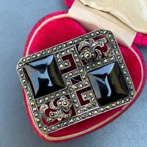 Art Deco Style Brooch Vintage Marcasite Pin 80s Sterling Silver