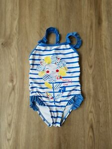 George Girls Swimsuit, Blue White Stripes, Flower, 1.5-2 Years / 18-24 Months