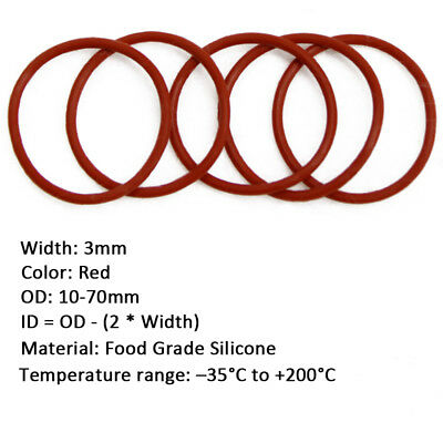 50pcs 1.5mm  White Food Grade Silicone HIGH TEMP Gasket O-Ring Seal OD 5-45mm