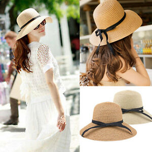 New-Womens-Summer-Sun-Hat-Beach-Cap-Bow-Tie-Floppy-Wide-Brim-Cap-outdoor