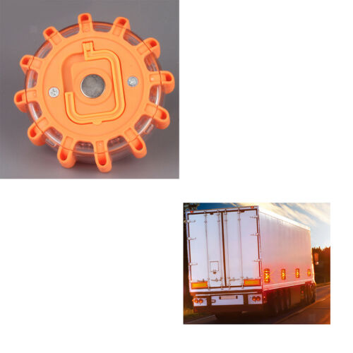 2pcs Magnetic Emergency Hazard Warning Safety Road Light Amber LED Strobe