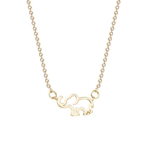 Cute Unique Animal Choker Necklace Women Lucky Hollow Woodland Elephant Pendant