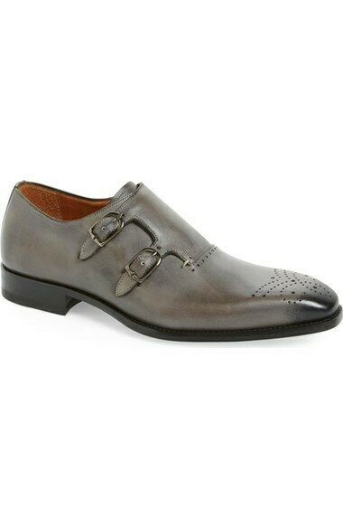 Mens Handmade shoes Grey Double Monk Leather Formal Dress Casual Wear Boots New