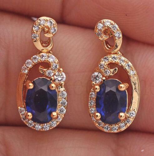 """18K Gold Filled sapphire topaz oreille Stud œuf en forme de Gems/"""" 9/"""" Dangle Boucles d/'oreilles ONU"""