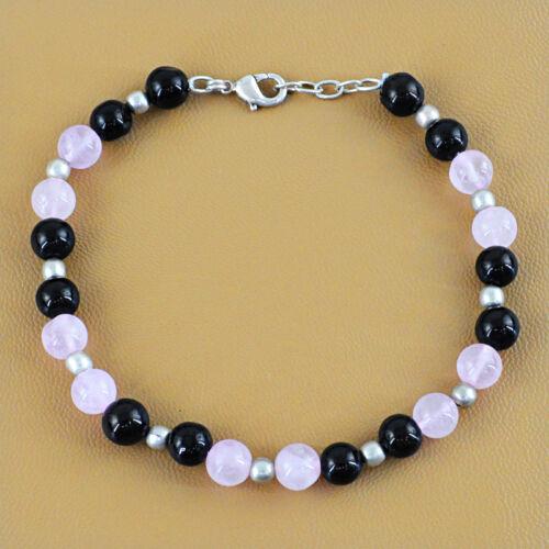 76.00 cts naturel non traité Rose Quartz /& black Onyx Forme Ronde Perles Bracelet