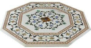White Marble Coffee Side Table Top Rare Floral Inlay Art Marquetry Home Decorate