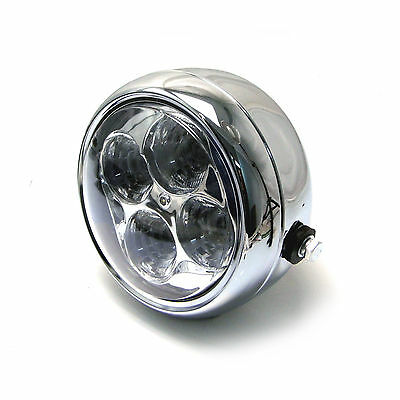 Headlight fits Harley Davidson Sportster Dyna Softail LED Chrome Steel 5 1/2""