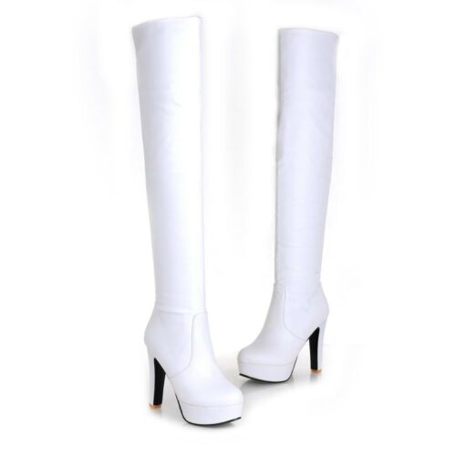 Ladies Shoes Synthetic Leather Platform High Heels Over Knee Boots UK Size b177