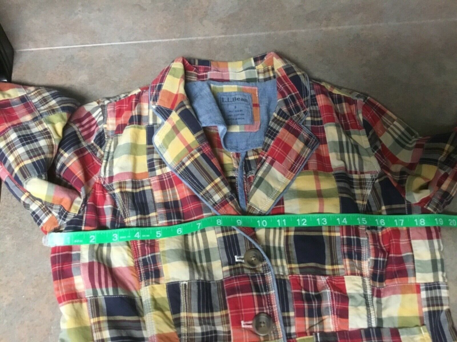 LL Bean Women's Blazer Patchwork Cotton Jacket Mu… - image 4