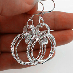 925-Sterling-Silver-Plate-Wholesale-Women-Jewelry-Three-Loop-Hoop-Dangle-Earring