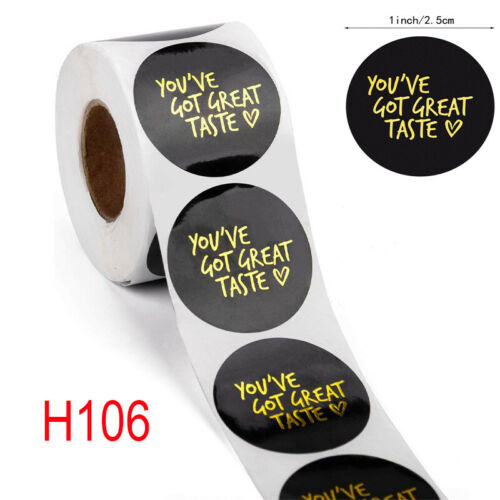 500* Thank You Stickers You/'ve Got Great Taste Round Heart Handmade Label Sealed