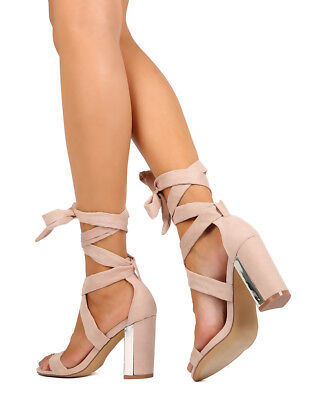New Women Liliana Ilyse-4 Faux Suede Fringe Chunky Heel Ankle Wrap Sandal