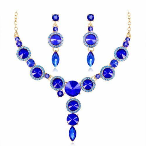 Masquerade Crystal Rhinestone Wedding Necklace Earring Set Vogue Prom Jewelry
