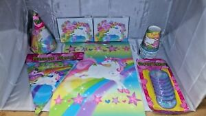 Unicorn-Party-in-a-box-for-8-Hats-plates-cups-and-much-more-NOS