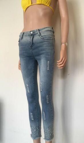 WOMANS Blue Jeans-Vari Stili sfilacciati e Diamante-skinny-Taglia 6-14 20