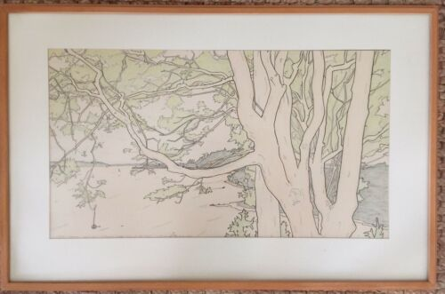 "Tim Robinson Original Art 1981 ""Spring Trees Alki Point"" SEATTLE ARTIST Drawing"