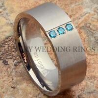 Titanium Wedding Band Blue Sapphire Simulated Men's Ring Jewelry Matte Size 6-13