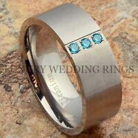 Titanium Wedding Band Blue Sapphire Simulated Men's Ring Jewelry Matte Size 6-13