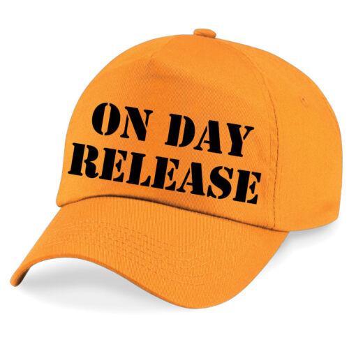 ON DAY RELEASE Printed Baseball Cap Funny Joke Drink Beer STAG NIGHT