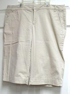 FRENCH-CUFF-Women-039-s-Beige-Khaki-Long-Shorts-Bermuda-Walking-Size-12