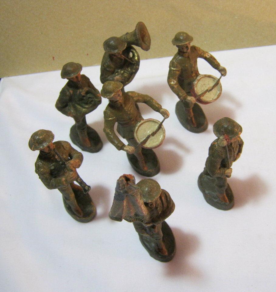 Antiguo ELASTOLIN Alemania banda marchante Lote Soldados De Juguete T