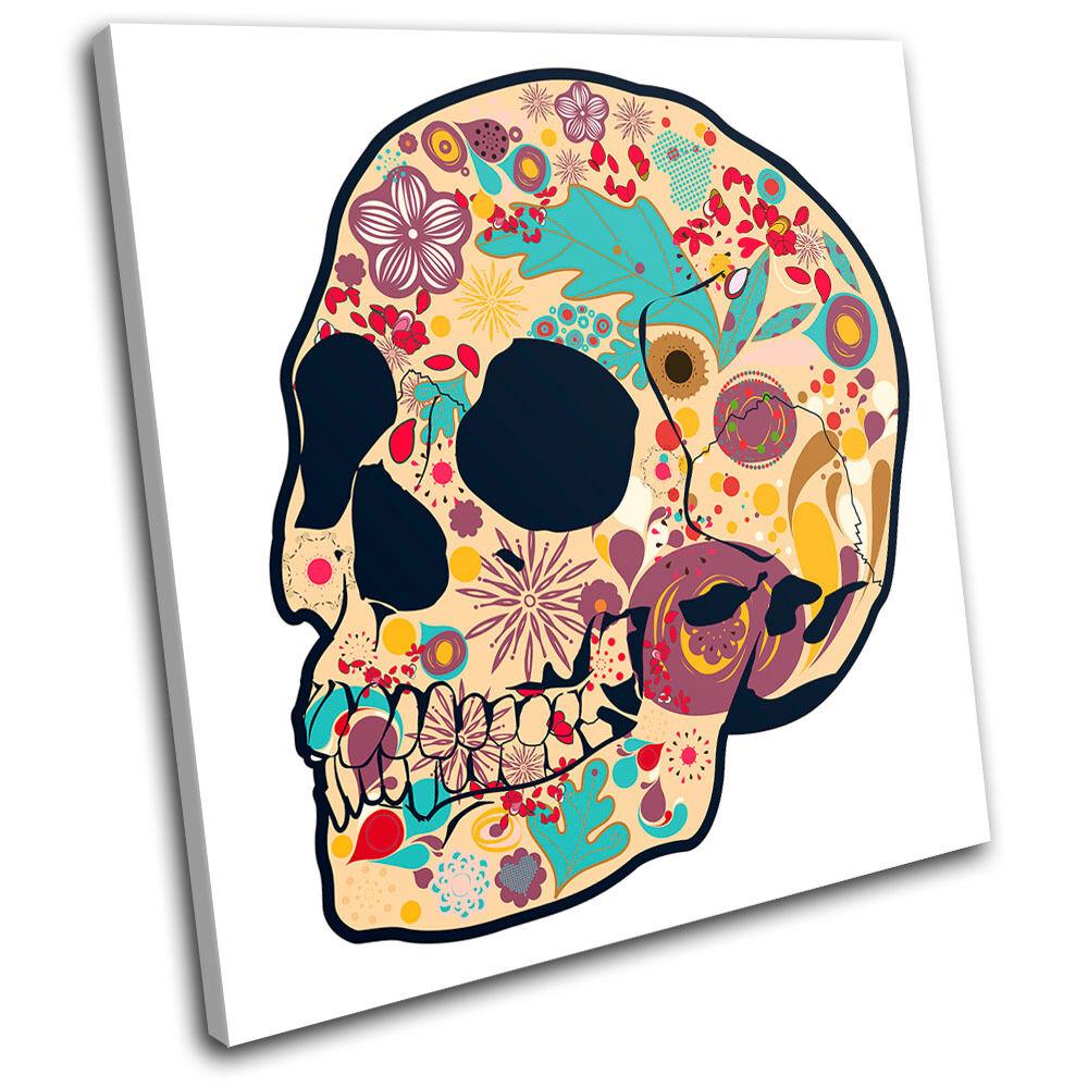 Candy Sugar Skull Skeleton Floral Illustration DOTD Canvas Art Picture Print
