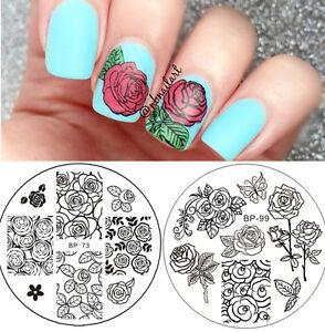 2pcs-set-Born-Pretty-Rose-Flowers-Nail-Art-Stamping-Template-Image-Plates-DIY