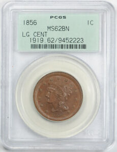 1856-1C-Upright-5-Braided-Hair-Large-Cent-PCGS-MS-62-BN-Uncirculated-OGH-Old