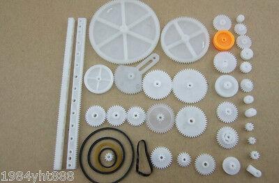 34pcs Plastic Gears motor gear rack pulley belt Worm gear Single-and double-gear