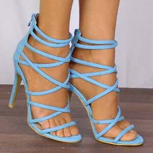 3dc9842514d Image is loading Ladies-Turquoise-Blue-Barely-There-Peep-Toes-Strappy-