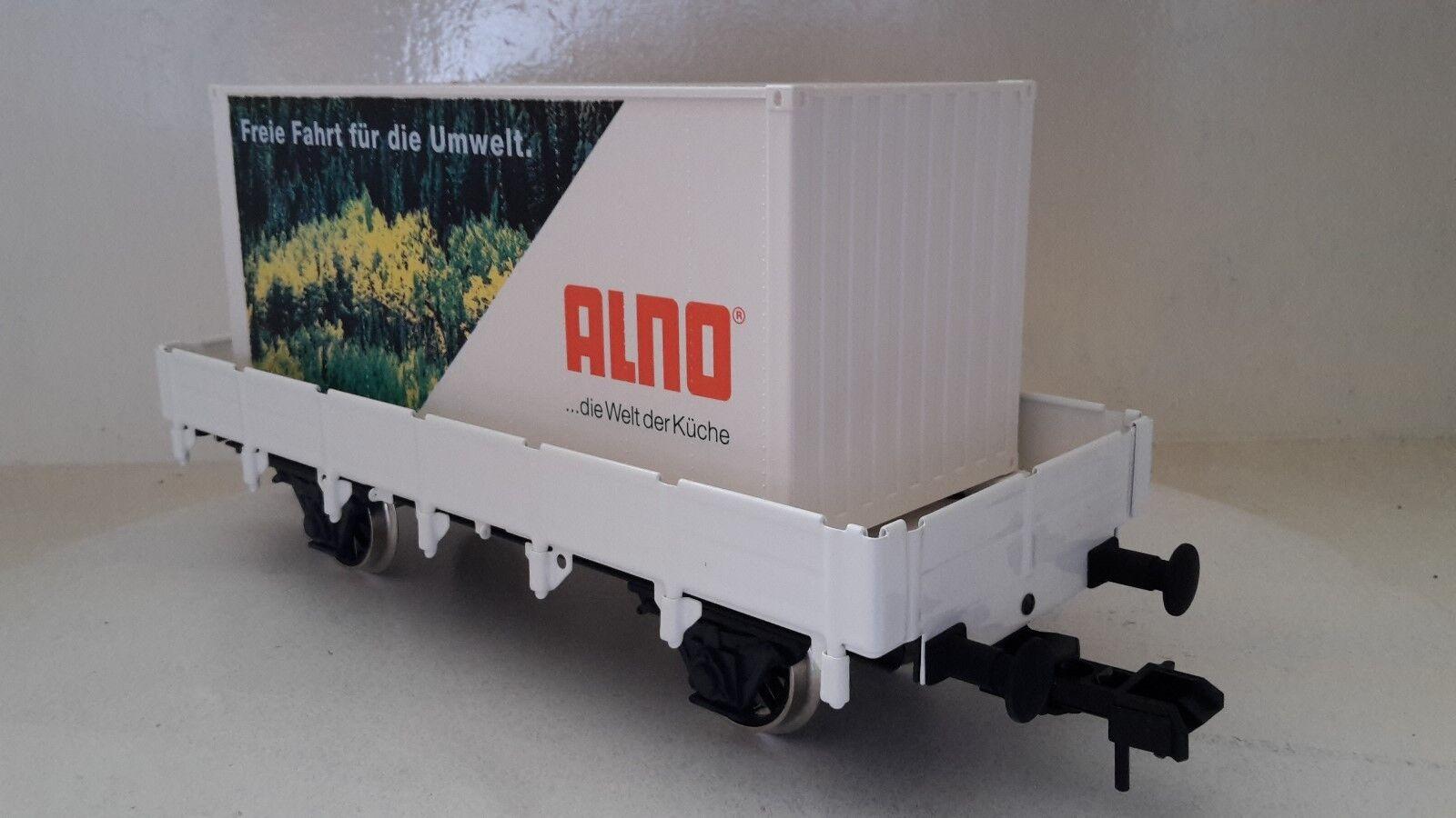 Märklin Spur 1 ALNO Werbewagen Containerwagen Niederbordwagen im Blister (B83)