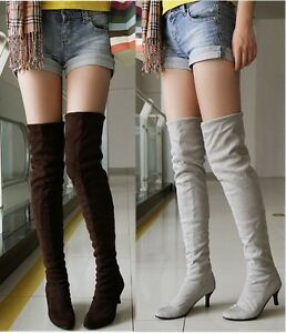 bda46541cecd Details about Sexy Womens Kitten Heels Slouch Point Toe Stiletto Tight Leg  Over the knee Boot