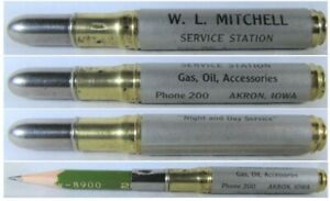 RESTORED-Vintage-Bullet-Pencil-Mitchell-Service-Station-Akron-Iowa-BS-1308