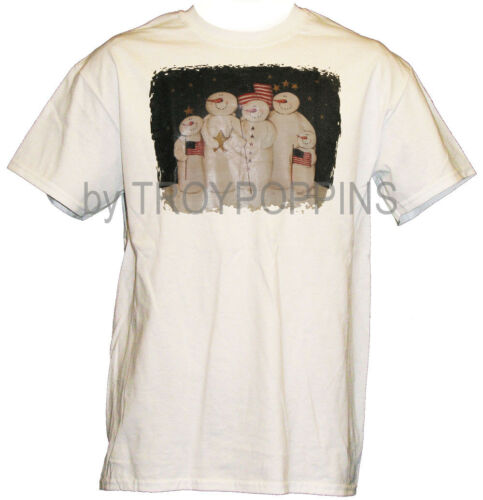 1-FLAG SNOW BUNCH SNOWMAN WINTER CHRISTMAS IN JULY 4TH GRAPHIC PRINTED T-SHIRT