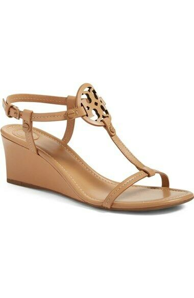 nyA Tory Burch Miller Wedge Heel Sandals Sandals Sandals skor Dusty Cypress Beige Tan 10.5  billigare priser