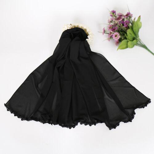 Muslim Women Hijab Scarf Flower Edges Chiffon Arab Shawls Scarves Wrap Headwear