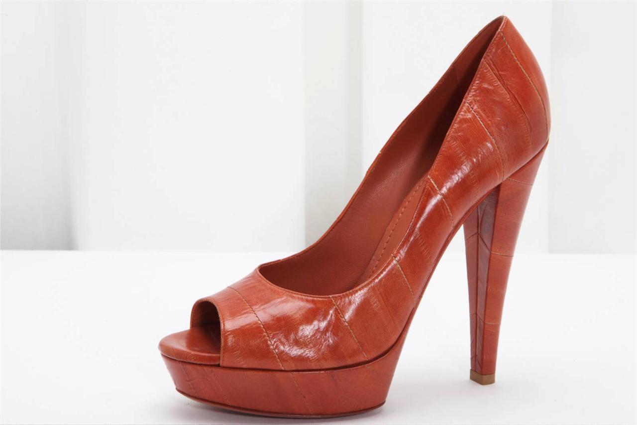 YVES SAINT LAURENT Rust Brown Eel Skin Peeptoe High Heel Pump Shoe 8-38