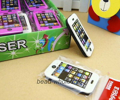 2 Pcs Phone Shaped Rubber Pencil Eraser Students Stationery Gift Toy Prize