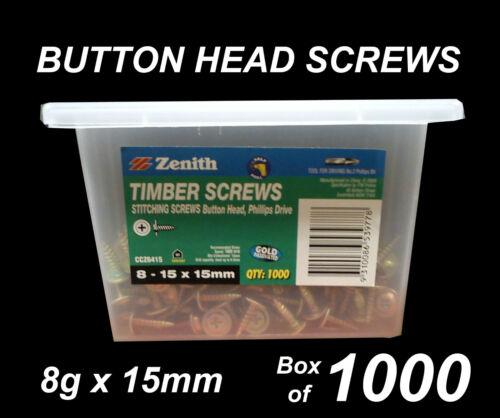 Button Head Stitching Screws BULK 8g x 15mm Box of 1000
