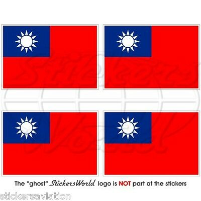 """Vinyl Stickers TAIWAN Naval Jack RoC Taiwanese NAVY Flag 50mm 2/"""" Decals x4"""